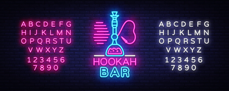 Hookah Bar neon sign vector. Night Hookah Design Template, Light Banner, Night Bright Advertising, Bright Signboard, Design Element Hookah Emblem, Nightlife. Vector. Editing text neon sign Illustration