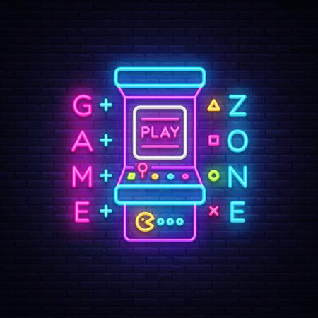 Neón del vector del logotipo de la zona de juego. Tablero de letreros de neón de sala de juegos, plantilla de diseño, publicidad de la industria del juego, vector de máquina de juego, banner de luz, elemento de diseño de neón de noche brillante. Arte vectorial