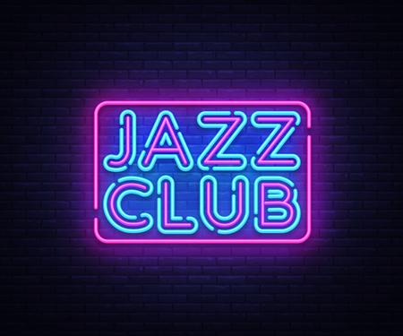 Jazz Club neon sign vector. Jazz Music design template neon sign, light banner, neon signboard, nightly bright advertising. Vector illustration
