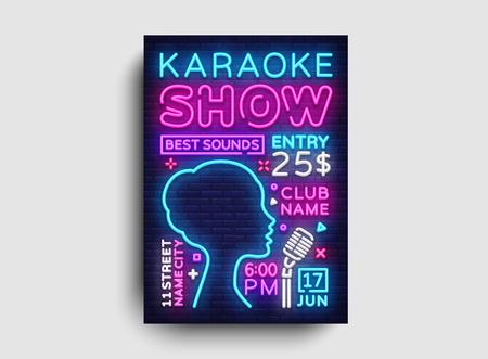Karaoke design poster vector. Karaoke Party Design Template Flyer, Neon Style, Karaoke Show brochure, Neon Banner, Light Flyer, Concert Invitation, Live Music, Night Party Invitation. Vector