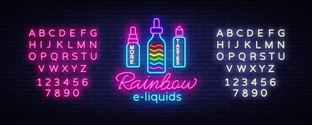 Vape Shop Logo Neon Vector. Rainbow e-liquids concept, Vape neon sign design template, light banner, night bright advertising for Vaping store, Trendy modern design. Vector. Editing text neon sign