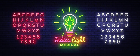 Marijuana Medical Logo Neon Vector. Design Concept Cannabis, Indica Light, storing and growing cannabino medical equipment, light banner. Vector illustration. Editing text neon sign