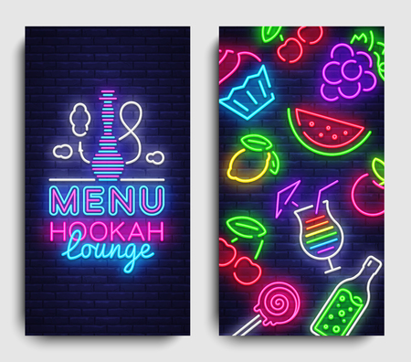 Hookah lounge menu design template vector. Hookah lounge typography modern trend design, vertical banners, nightlife neon advertising hookah. Vector Illustration Vectores