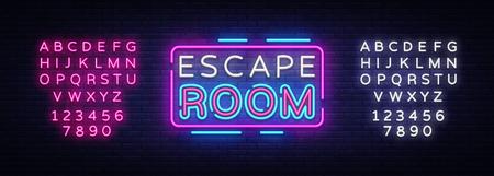 Vecteur d'enseignes au néon Escape Room. Enseigne au néon de modèle de conception de salle d'évasion, bannière lumineuse, enseigne au néon, publicité lumineuse nocturne, inscription légère. Illustration vectorielle. Modification de l'enseigne au néon de texte
