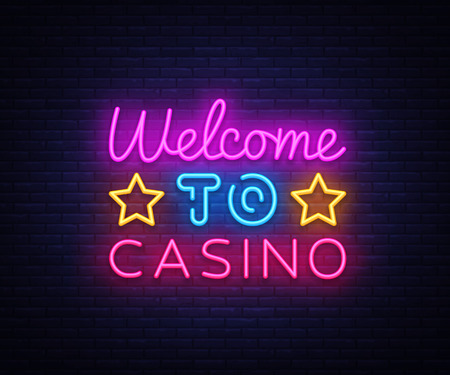 Welcome to Casino sign vector design template. Casino neon logo, light banner design element colorful modern design trend, night bright advertising, bright sign. Vector illustration