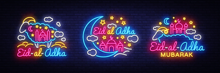 Eid-Al-Adha festive card collection design template in modern trend style. Neon style, Islamic and Arabic background for the holiday of the Muslim community. Kurban Bayrami Light banner. Vector