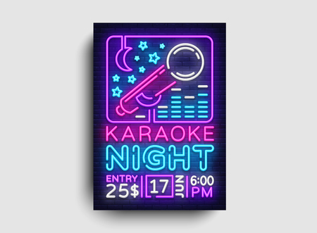 Karaoke design poster vector. Karaoke Party Design Template Flyer, Neon Style, Karaoke Night brochure, Neon Banner, Light Flyer, Concert Invitation, Live Music, Night Party Invitation. Vector