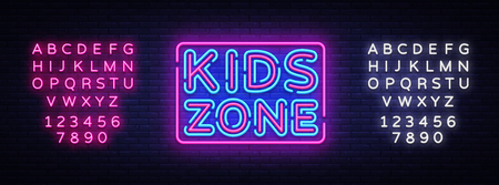 Kids Zone neon sign vector. Kids Zone design template neon sign, light banner, neon signboard, nightly bright advertising, light inscription. Vector illustration. Editing text neon sign 일러스트