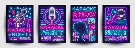 Vettore al neon della raccolta del manifesto del partito di karaoke. Modello di progettazione notte karaoke, brochure al neon luminoso, design moderno di tendenza, banner luminoso, invito tipografico alla festa, cartolina pubblicitaria. Vettore