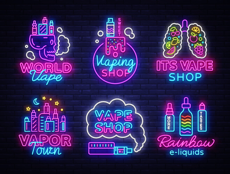 Vape Shop Logo collection Neon Vector. Vape neon sign set, Conceptual emblems design template on theme electronic cigarettes, light banner, night bright advertising, Trendy modern design. Vector