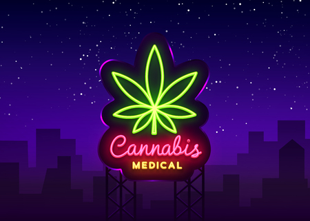 Marijuana medical neon sign and logo, graphic template in modern trend style. Cannabis is an organic hemp. Green farm Vector Illustration. Billboard