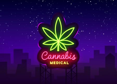 Marijuana medical neon sign and logo, graphic template in modern trend style. Cannabis is an organic hemp. Green farm Vector Illustration. Billboard