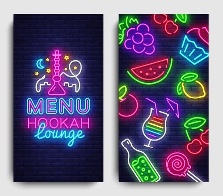 Vector de plantilla de diseño de menú de salón de cachimba. Diseño de tendencia moderna de tipografía de salón de cachimba, pancartas verticales, narguile de publicidad de neón de vida nocturna. Ilustración vectorial