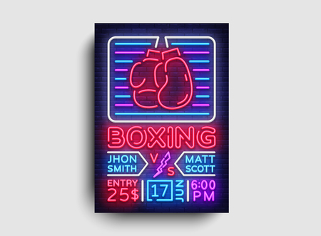 Boxing poster neon vector. Boxing night design template, bright neon brochure, modern trend design, light banner, typography invitation to the boxing match, advertising postcard. Vector illustration