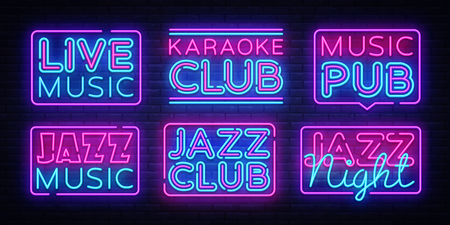 Big collection Live Music neon signs vector. Jazz Music design template neon sign, light banner, neon signboard, nightly bright advertising, light inscription. Vector illustration