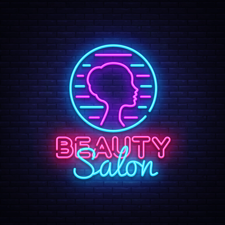 Beauty Salon sign vector design template. Beauty Salon neon logo, light banner design element colorful modern design trend, night bright advertising, bright sign. Vector illustration