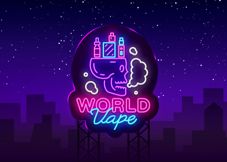 Logo electronic cigarette in neon style. Vape Shop Neon Sign, World Vape Concept with Skull, Emblem, Bright Night Signboard, Neon Advertising Electronic Cigarettes. Vector illustration. Billboard.