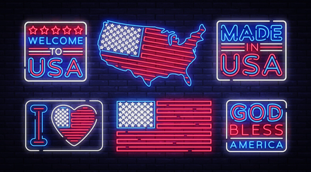 USA flag badges collection neon vector sign. I love USA, Made in USA symbol banner light, bright night Illustration. Vector illustration.