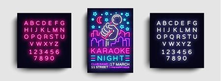 Karaoke night poster neon vector. Karaoke party design template, bright neon brochure, modern trend design, light banner, typography invitation party, postcard. Vector. Editing text neon sign. Ilustrace