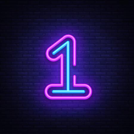 Vecteur de signe au néon symbole numéro un. Tout d'abord, icône de néon de modèle numéro un, bannière lumineuse, enseigne au néon, publicité lumineuse nocturne, inscription lumineuse. Illustration vectorielle.