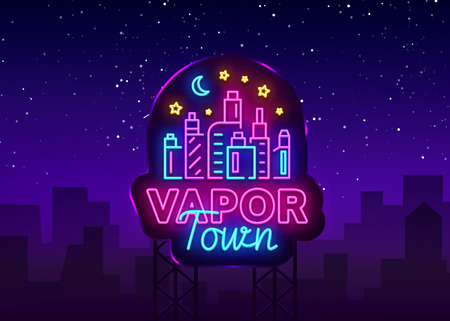 Vape shop neon sign vector. Vaping Store Logo Emblem Neon, Its Vape Shop Concept Vapor Town, Fighting Smoking. Trendy designer elements for print and advertising t-shirts. Vector Billboard Çizim