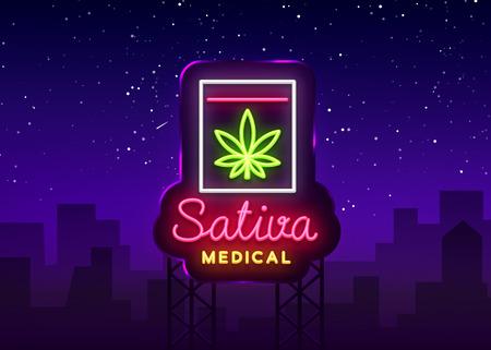 Marihuana Medical Logo Neon Vector. Sativa Medical, Marihuana-Rauchen, Lagerung und Anbau von medizinischen Cannabino-Geräten, Lichtbanner, Designvorlage. Vektorillustration. Plakatwand
