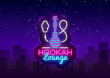 Hookah neon sign vector. Hookah Lounge logo in neon style design pattern bright advertising Hookah night, light banner design element. Vector illustration. Billboard