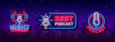 Podcast Neon sign collection vector design template. Podcast neon logo, light banner design element colorful modern design trend, night bright advertising, bright sign. Vector illustration. Billboard Banque d'images - 104037932
