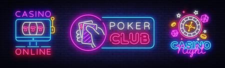 Casino Neon Logos collection Vector. Poker Club neon sign, design template, Casino online, modern trend design, casino neon signboard, night bright advertising, light banner, light art. Vector.