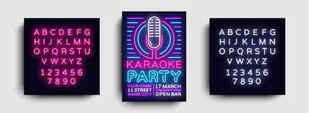 Karaoke party poster neon vector. Karaoke night design template, bright neon brochure, modern trend design, light banner, typography invitation party, advertising postcard. Editing text neon sign