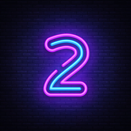 Number two symbol neon sign vector. Number two template neon icon, light banner, neon signboard, nightly bright advertising, light inscription. Vector illustration