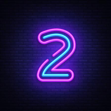 Numero due simbolo segno al neon vettore. Icona al neon modello numero due, banner luminoso, insegna al neon, pubblicità luminosa notturna, iscrizione leggera. Illustrazione vettoriale Vettoriali