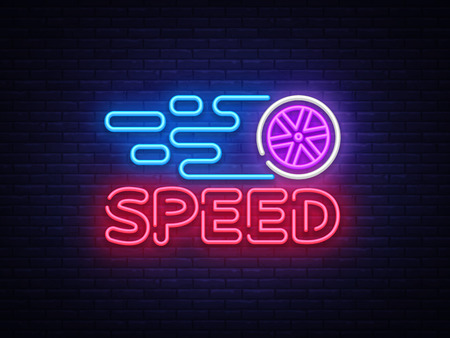 Speed Night Neon Logo Vector. Racing neon sign, design template, modern trend design, sports neon signboard, night bright advertising, light banner, light art. Vector illustration