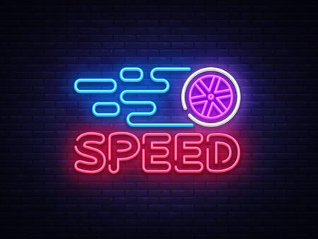 Speed Night Neon Logo Vector. Racing neon sign, design template, modern trend design, sports neon signboard, night bright advertising, light banner, light art. Vector illustration