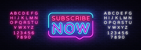Subscribe Now neon signs vector. Subscribe Now text Design template neon sign, light banner, neon signboard, nightly bright advertising, light inscription. Vector. Editing text neon sign.