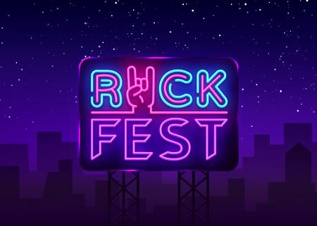 Rock Fest logo in neon style. Rock Festival neon night sign, design template vector illustration for Rock Festival, Concert, Live music, Light banner. Vector illustration. Billboard.