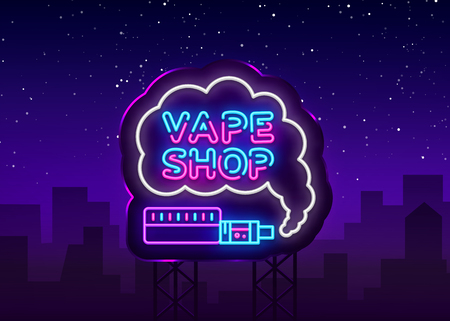 Vape Shop Logo Neon Vector. Vape neon sign design template on theme electronic cigarettes, light banner, night bright advertising for Vaping store, Trendy modern design. Vector Illustration. Billboard 向量圖像