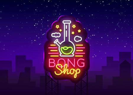 Bong Shop neon sign. Logo design template for shop advertising or signage. Tobacco Smoking Apparatus. Vector illustration. Billboard.
