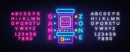 Game Zone Logo Vector Neon. Game Room neon sign board, design template, Gaming industry advertising, Gaming Machine vector, light banner, bright neon design element. Vector Art. Editing text neon sign