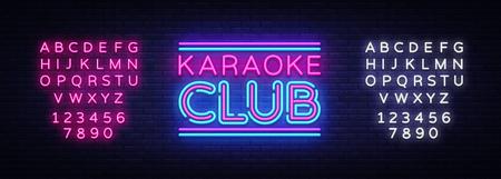 Karaoke Club neon sign vector. Karaoke design template neon sign, light banner, neon signboard, nightly bright advertising, light inscription. Vector illustration. Editing text neon sign.