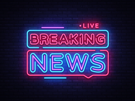 Breaking News neon sign vector. Breaking News Design template neon sign, light banner, neon signboard, nightly bright advertising, light inscription. Vector illustration.