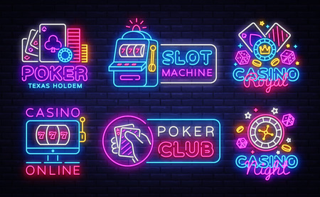 Big colletion neon sign. Casino logos and emblems. Casino Design template neon sign, Slot Machine light banner, Poker neon signboard, modern trend design, nightly bright advertising. Vector.