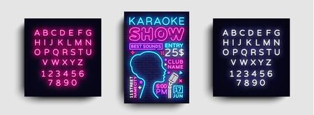 Karaoke design poster vector. Karaoke Party Design Template Flyer, Neon Style, Karaoke Show brochure, Neon Banner, Light Flyer, Concert Invitation, Live Music. Vector. Editing text neon sign.