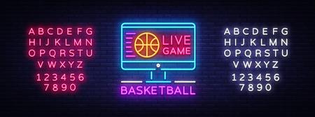 Basketball Live neon sign vector. Basketball Online Design template neon sign, light banner, neon signboard, modern trend design, bright advertising, light inscription. Vector. Editing text neon sign.