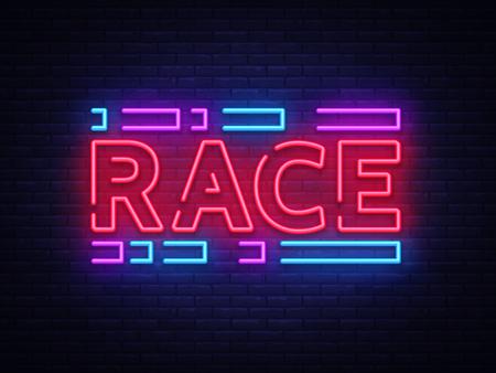 Race neon sign vector. Racing design template neon sign, light banner, neon signboard, nightly bright advertising, light inscription. Vector illustration.