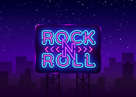 Rock and Roll logo in neon style. Rock Music neon night signboard, design template vector illustration for Rock Festival, Concert, Live music, Light banner. Vector illustration. Billboard