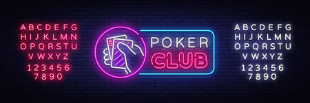 Poker neon sign design vector template. Casino Poker Night Logo, Bright Neon Signboard, Design Element for Casino, Gambling Neon, Bright Night Advertising. Vector Illustration. Editing text neon sign Illustration