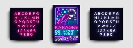 Karaoke design poster vector. Karaoke Party Design Template Flyer, Neon Style, Karaoke Night brochure, Neon Banner, Light Flyer, Concert Invitation, Live Music, Night Party. Editing text neon sign