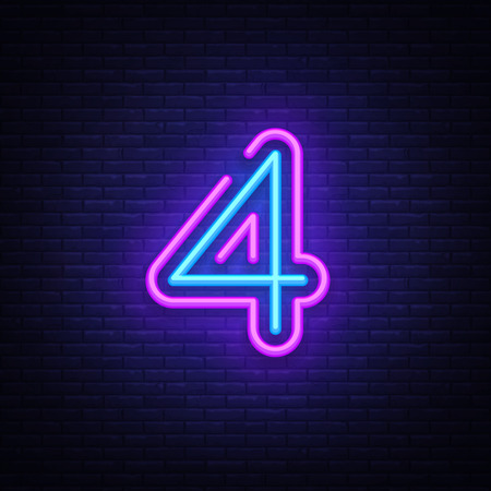 Neonzeichenvektor des Symbols Nummer vier. Neonikone der Schablone Nummer vier, Lichtbanner, Neonschild, nächtliche helle Werbung, Lichtbeschriftung. Vektorillustration Vektorgrafik