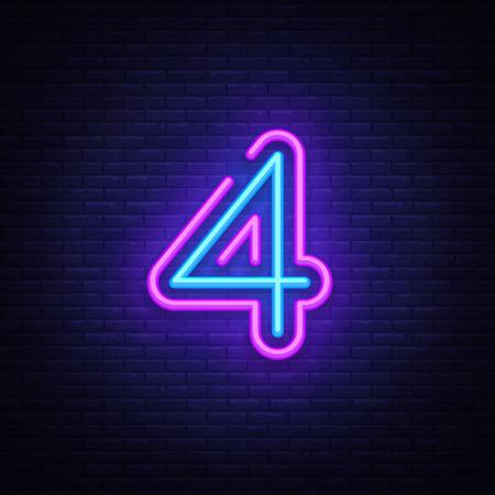 Numero quattro simbolo segno al neon vettore. Icona al neon del modello numero quattro, insegna luminosa, insegna al neon, pubblicità luminosa notturna, iscrizione leggera. Illustrazione vettoriale Vettoriali